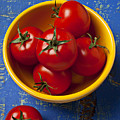 Yellow Bowl Of Tomatoes  by Garry Gay