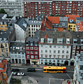 Yellow Bus In Copenhagen Denmark by Mary Lee Dereske