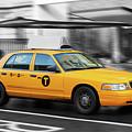 Yellow Cab In Manhattan In A Rainy Day. by Antonio Gravante