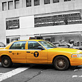 Yellow Cab In Manhattan With Black And White Background by Antonio Gravante