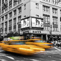 Yellow Cabs Near Macy's Department Store, New York by Art Calapatia