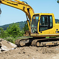 Yellow Excavator In Anacortes by Tom Cochran
