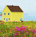 Yellow Home And Pink Flowers - Painterly by Les Palenik
