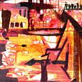 Yellow Maroon And Brown Abstract by Makarand Joshi