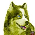 Yellow Modern Siberian Husky Dog Art - 6024 - Wb by James Ahn