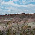 Yellow Mounds Panorama At Badlands South Dakota by Michael Ver Sprill