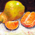 Yellow Pear With Tangerine Slices Grace Venditti Montreal Art by Grace Venditti