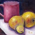 Yellow Pears And Mug Stll Life Grace Venditti  by Grace Venditti