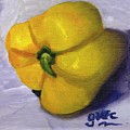 Yellow Pepper On Linen by Gloria Condon