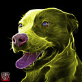 Yellow Pit Bull Fractal Pop Art - 7773 - F - Bb by James Ahn