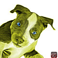 Yellow Pitbull Dog Art 7435 - Wb by James Ahn
