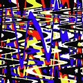 Yellow Red Blue Black And White Abstract by Tom Janca