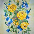 Yellow Roses And Blue Bells by Irenemaria