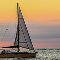 Yellow Sailboat At Sunrise by Scott Kwiecinski