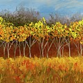 Yellow Stand Of Trees by Barrie Stark