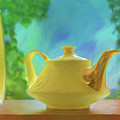 Yellow Teapot And Bowl by Nikolyn McDonald