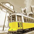 yellow tram Lisbon by Benny Marty