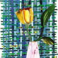 Yellow Tulip In A Pink Vase by Sarah Loft