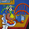 Yellow Vase With Blue Teapot by Nicholas Martori
