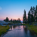 Yellowstone National Park Sunset And Moon by Michael Ver Sprill