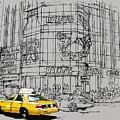 Yelow Cab On New York Streets by Drawspots Illustrations