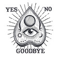 Yes No Goodbye Magic Ouija Vintage Planchette Design by Little Bunny Sunshine