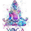 Yoga Meditation Watercolor Print by Svetla Tancheva