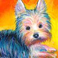 Yorkie Puppy Painting Print by Svetlana Novikova