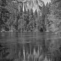 Yosemite Reflection Black And White  by John McGraw