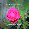 You Marry The Person Who Cannot Live Without Motivational Quote by Daniel Ghioldi