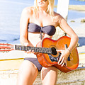 Young Attractive Blonde Woman Playing Guitar by Jorgo Photography - Wall Art Gallery