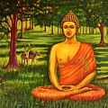 Young Buddha Meditating In The Forest by Usha Shantharam