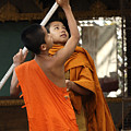 Young Buddhist Monks Laos by Bob Christopher