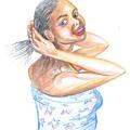 Young Cameroun Woman Tying Her Hair by Emmanuel Baliyanga