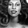 Young Chaka Khan - Charcoal Art Drawing by Ai P Nilson