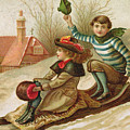 Young Girl And Boy Tobogganing, Victorian Christmas And New Year Card by English School