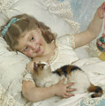 Young Girl And Cat by Emile Munier