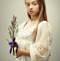 Young Girl Holding Lavender by Amanda Elwell