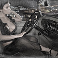 Young Girl In The Cabin Of An Vintage Car. by Andrey  Godyaykin