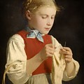 Young Girl Knitting by Mountain Dreams