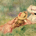 Young Girls On The River Bank by Pierre Auguste Renoir