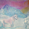 Young Horse On Snowy Mountain by Michela Akers