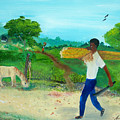 Young Man Carrying Sugarcane by Nicole Jean-Louis