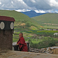 Young Monk Looking Over His Shoulder by Angela Siener