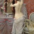 Young Nude Woman Styling In An Interior by Jean Andre Rixens