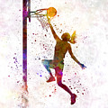 Young Woman Basketball Player 04 In Watercolor by Pablo Romero