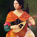 Young Woman With A Mandolin by Vekoslav Karas