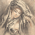 Young Woman With Her Head Covered by Gilles Demarteau, The Elder After Fran?ois Boucher