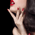 Young Woman With Red Lipstick Sensual Closeup Of Mouth by Oleksiy Maksymenko