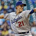 Zack Greinke Los Angeles Dodgers by Marvin Blaine